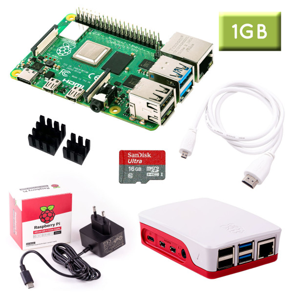 Raspberry Pi 4 (1GB RAM) Bundle 16GB, weiß