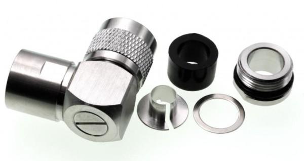 N-Winkelstecker für 10mm Koaxialkabel, z.B. RG213, Ecoflex 10 u.a.