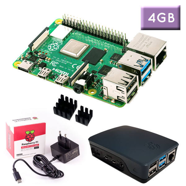 "Raspberry Pi 4 (4GB RAM) ""S"" Bundle, schwarz"