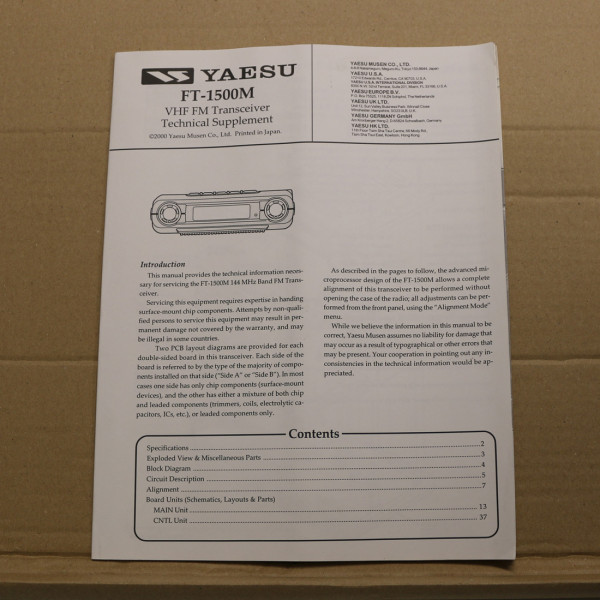Yaesu FT-1500M Technical Supplement
