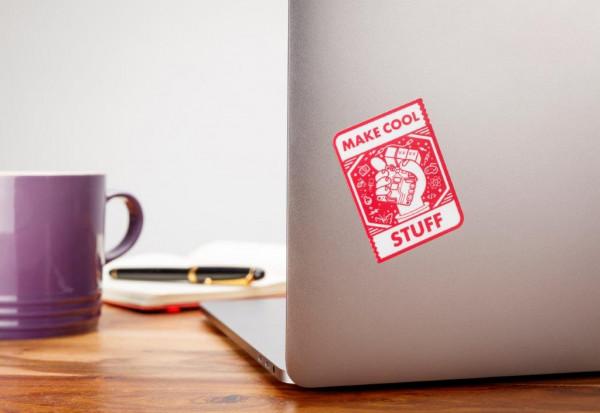 "Raspberry Pi Aufkleber / Sticker ""Make cool stuff"""