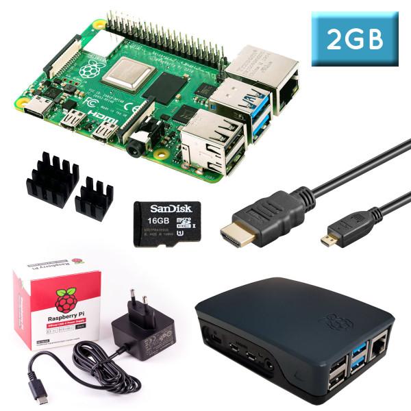 Raspberry Pi 4 (2GB RAM) Bundle 16GB, schwarz