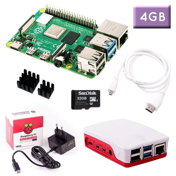 Raspberry Pi 4 (4GB RAM) Bundle 32GB, weiß