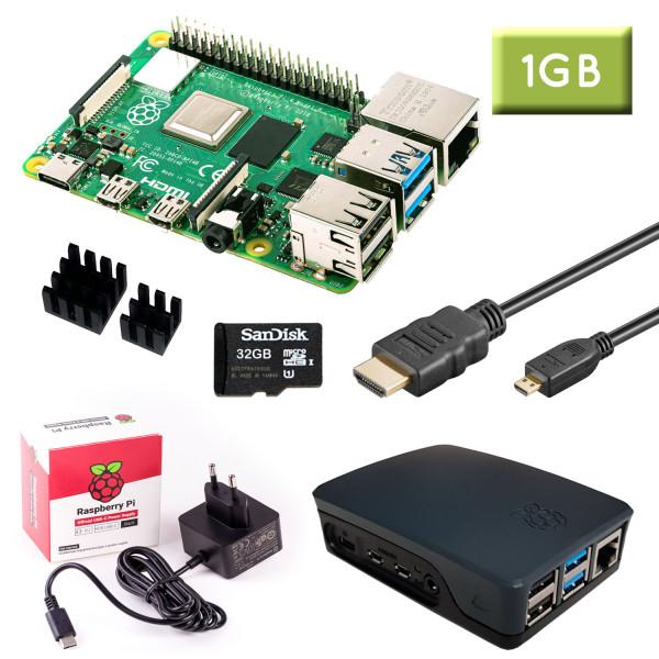 Raspberry Pi 4 (1GB RAM) Bundle 32GB, schwarz