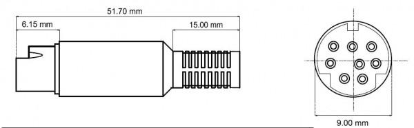 ACC Mini Din 8 Zubehör-Stecker für Amateurfunkgeräte