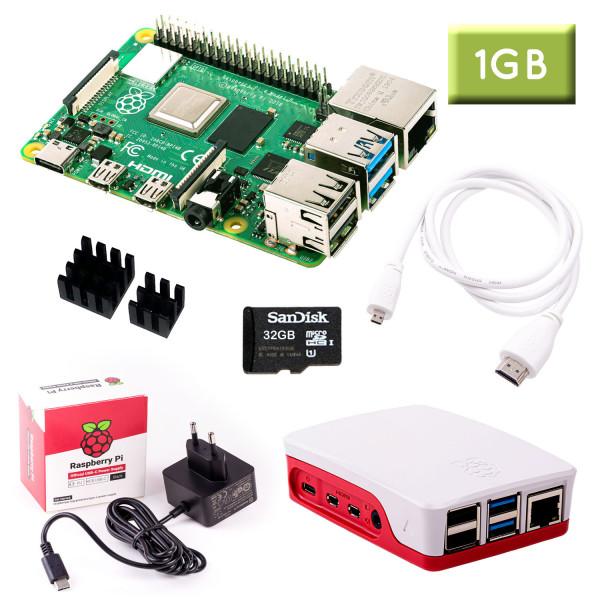 Raspberry Pi 4 (1GB RAM) Bundle 32GB, weiß