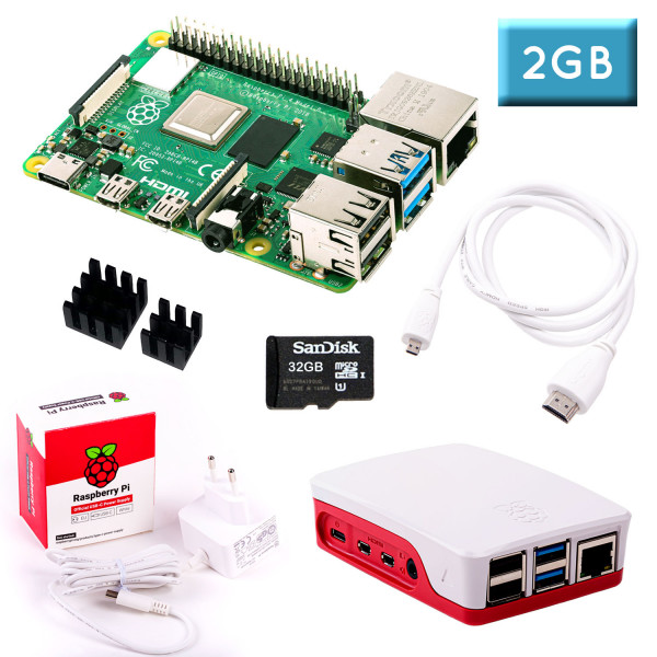 Raspberry Pi 4 (2GB RAM) Bundle 32GB, weiß