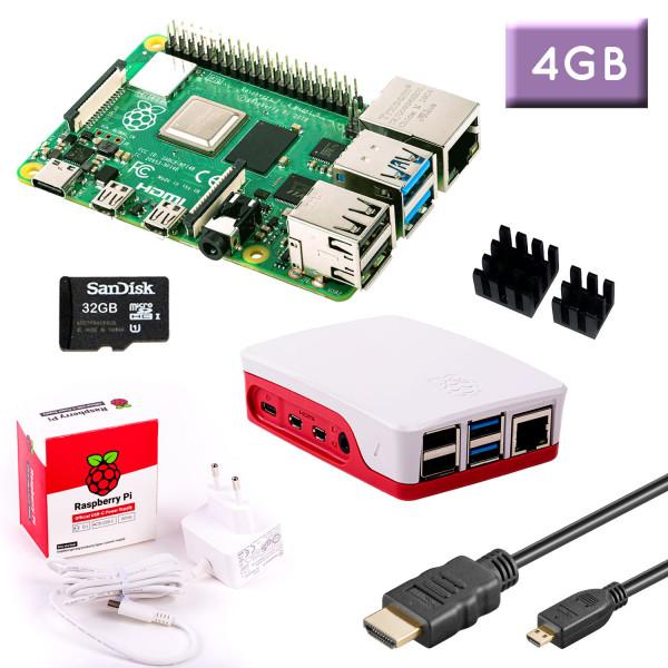 RPi 4 (4GB RAM) Bundle 32GB, weiß