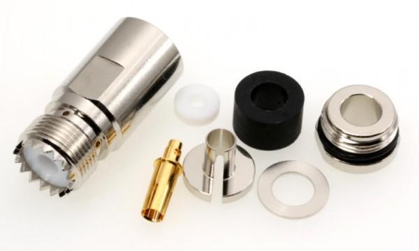 UHF-Buchse / PL-Buchse für 7mm Koaxialkabel, z.B. Aircell 7 u.a.