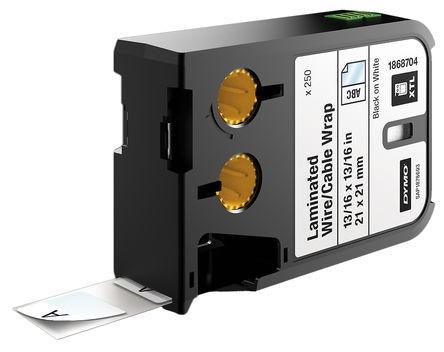 DYMO XTL Kabelmarkierung, selbstklebend schwarz auf weiß, 21 mm, 250 Stück 1868704