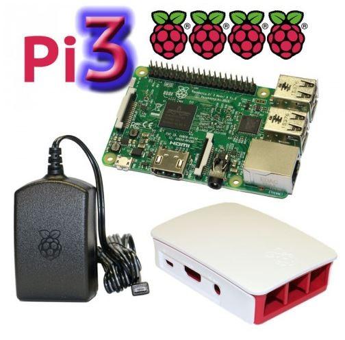 Raspberry Pi 3 Model B mit offiziellem Gehäuse und Netzteil