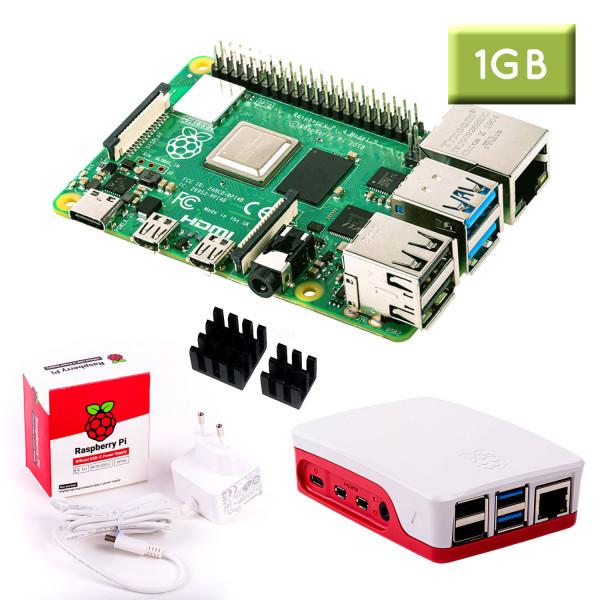 """Raspberry Pi 4 (1GB RAM) """"S"""" Bundle, weiß"""