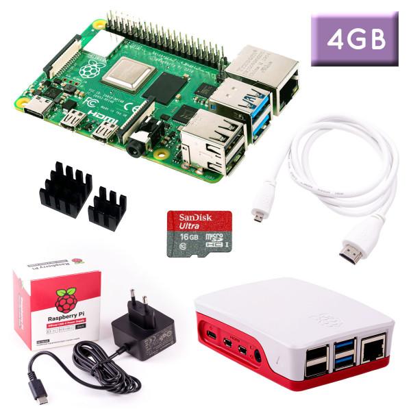 Raspberry Pi 4 (4GB RAM) Bundle 16GB, weiß