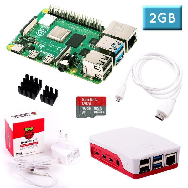 Raspberry Pi 4 (2GB RAM) Bundle 16GB, weiß