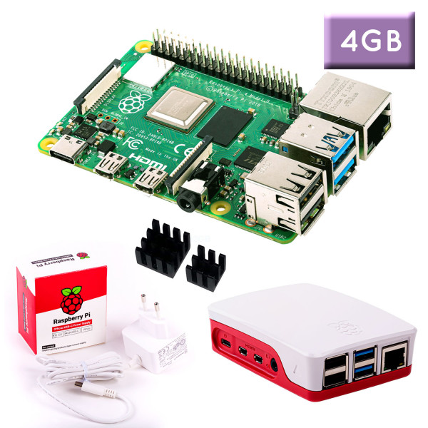 "Raspberry Pi 4 (4GB RAM) ""S"" Bundle, weiß"
